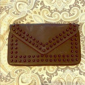 Vegan leather studded clutch